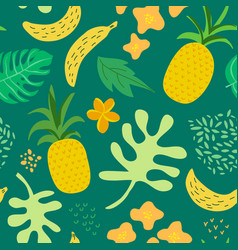 tropical flowers and leaves pattern pineapples vector image