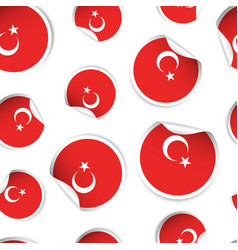 turkey flag sticker seamless pattern background vector image