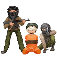Two terrorists with guns and a victim vector