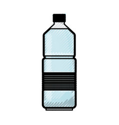 water bottle in colored crayon silhouette vector image