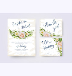 wedding invitation invite flower invite thank you vector image