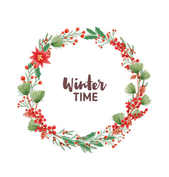 winter time handwritten lettering inside round vector image