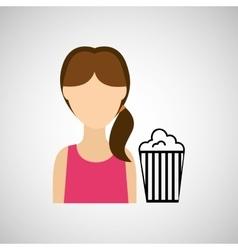 woman character pop corn cinema design vector image