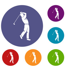 golf player icons set vector image