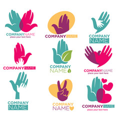 hand heart icons for charity ot donation vector image vector image