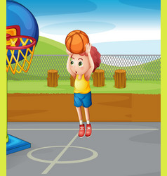 little boy shooting basketball vector image vector image
