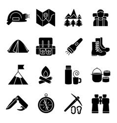 Mountain Climbing Icon Set vector image