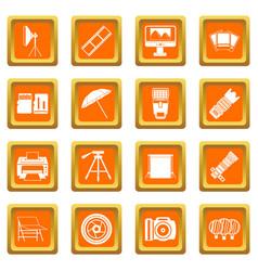 Photo studio icons set orange vector