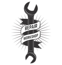 repair workshop label vector image vector image