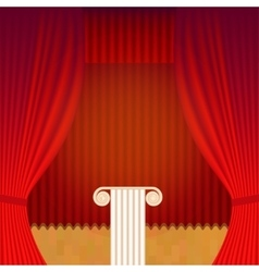 Scene with theater curtain and pedestal vector