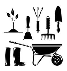 silhouette of garden and landscaping tools vector image