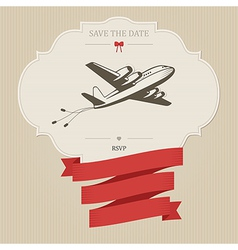Vintage wedding invitation with retro aircraft vector image vector image