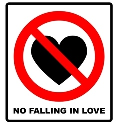 No falling in love label vector