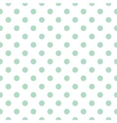 Tile pattern mint polka dots white background vector image