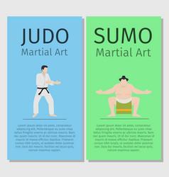 asian martial arts judo and sumo vector image vector image
