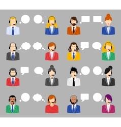 Call center operators female and male avatar vector