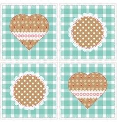 Floral background decorative patchwork hearts vector image