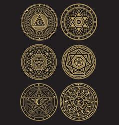 golden occult mystic spiritual esoteric vector image vector image
