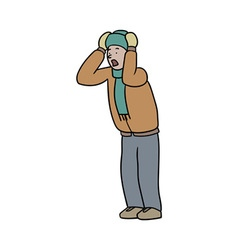 shocked man in winter clothes vector image