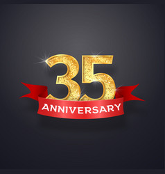 thirty-five anniversary logo template 35th years vector image