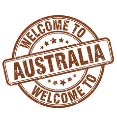 welcome to australia brown round vintage stamp vector image vector image