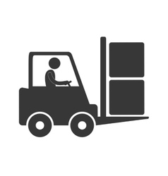 worker driving forklift truck delivery box figure vector image vector image