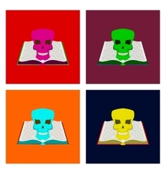 assembly flat book skull vector image