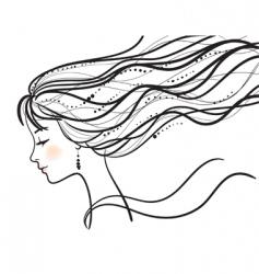 beautiful woman face silhouette illustratio vector image vector image
