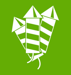 firecrackers icon green vector image