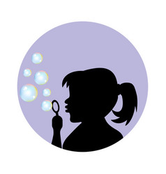 girl blowing soap bubbles vector image