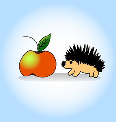 hedgehog and apple hand vector image vector image