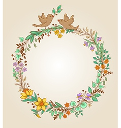 wreath of flowers leaves and birds vector image