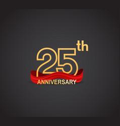 25 anniversary logotype design with line golden vector