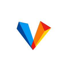3d letter v colorful logo vector image