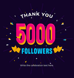 5000 followers card banner post template for vector