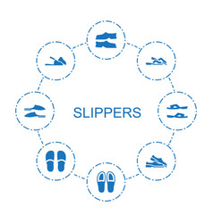 8 slippers icons vector