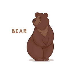 a cartoon brown smiling bear vector image