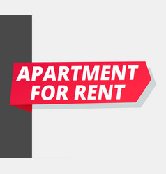 Apartment for rent ribbon arrow on corner of vector