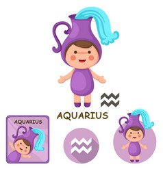 Aquarius collection zodiac signs vector
