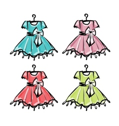 Baby dress on hangers for your design vector