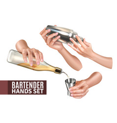 bartender hands set vector image