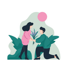 Bearded man giving bouquet flowers to happy vector