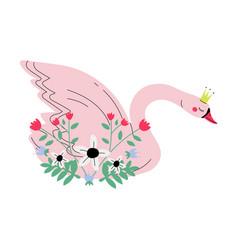 beautiful pink swan princess with golden crown vector image