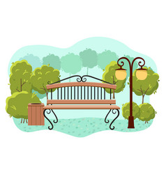 Beautiful summer city park with green trees bench vector