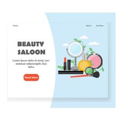 beauty saloon website landing page design vector image