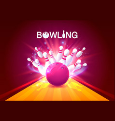 Bowling club poster with the bright background vector
