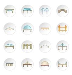 Bridge construction icons set vector