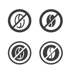 Caffeine free sign - crossed out coffee bean vector