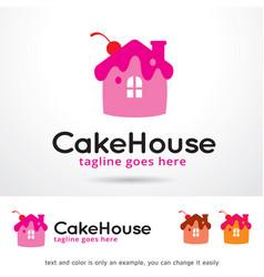 Cake house logo template vector
