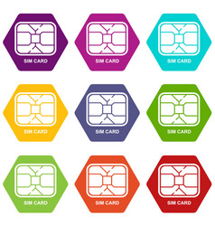 central microchip icons set 9 vector image